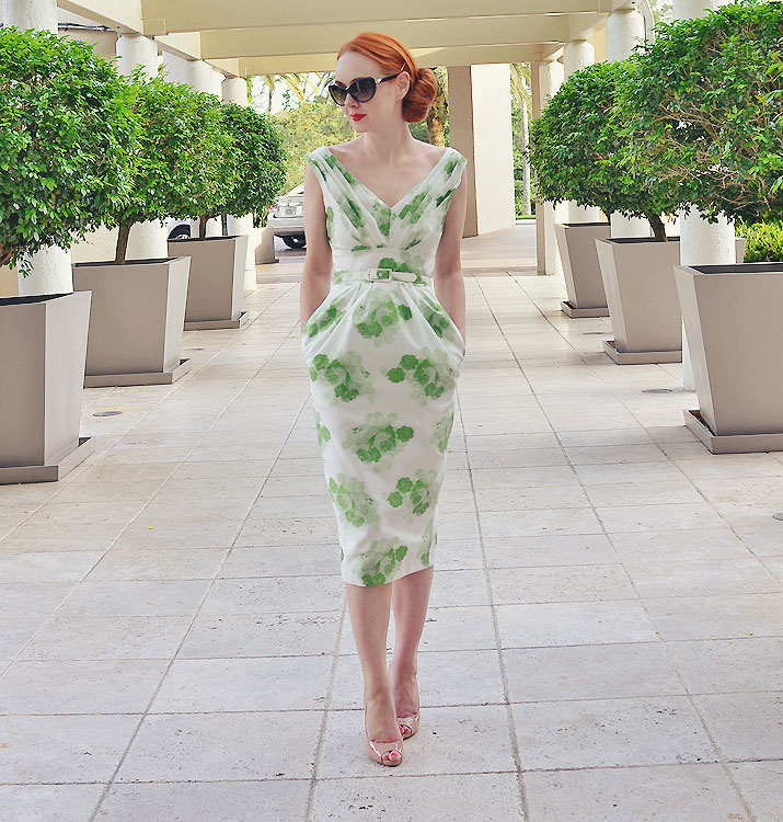 Green ASOS dress and nude shoes