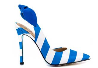 Taylor Says 'Romantique' blue stripe bow slingbacks