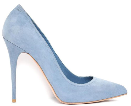 Alexander McQueen baby blue suede pointed pumps