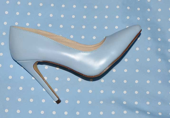 pastel blue high heel shoes