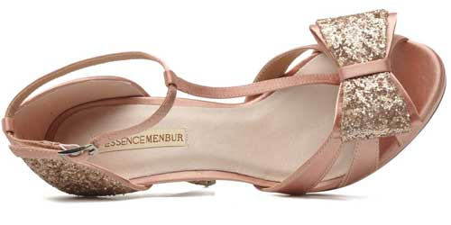 Menbur pink and gold bow sandals