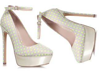 Carvela 'Granted' grey/yellow polka dot platforms
