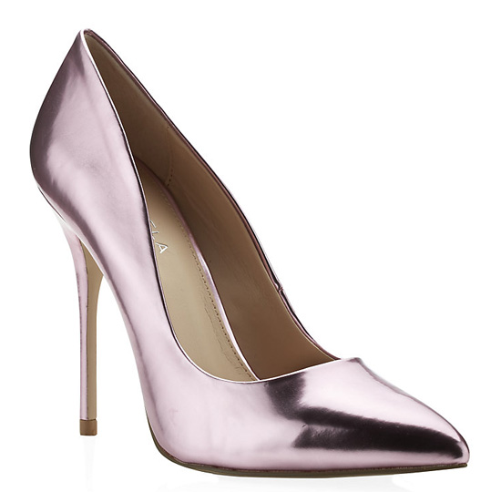 carvela gunning pink metallic court shoes