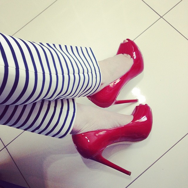Today...more stripes! <tap photo for details> #shoes #stripes #red