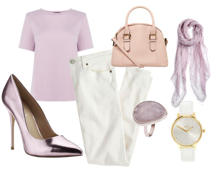 what to wear with lilac shoes