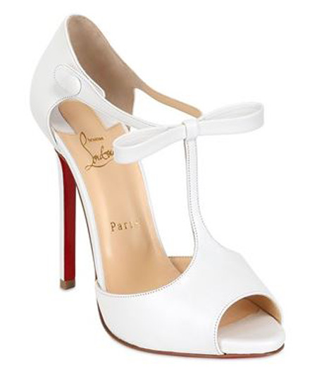 hot sale online abb23 5b57d Friday Fix | Christian Louboutin 'Belly Nodo' white t-bar ...