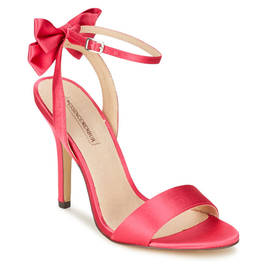 pink sandals with bow on heel