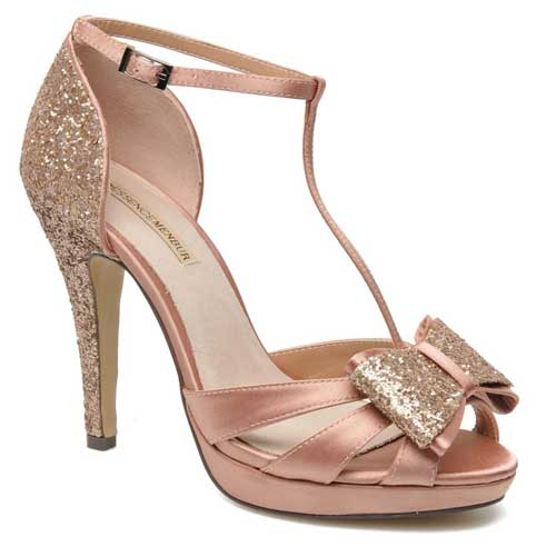 pink and gold glitter bow sandals