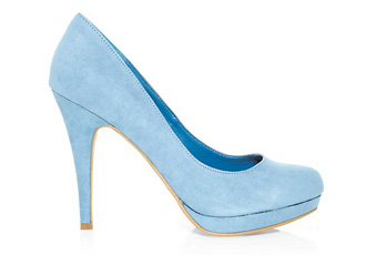New Look pale blue suedette platforms