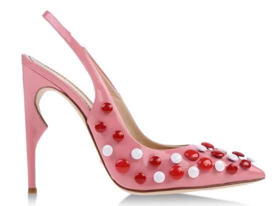 pink spotted sllingback shoes