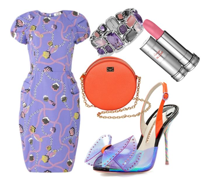 what to wear with purple and orange shoes