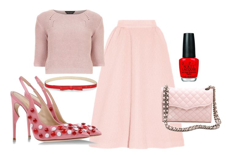 what to wear with pink slingbacks: red and pink outfit