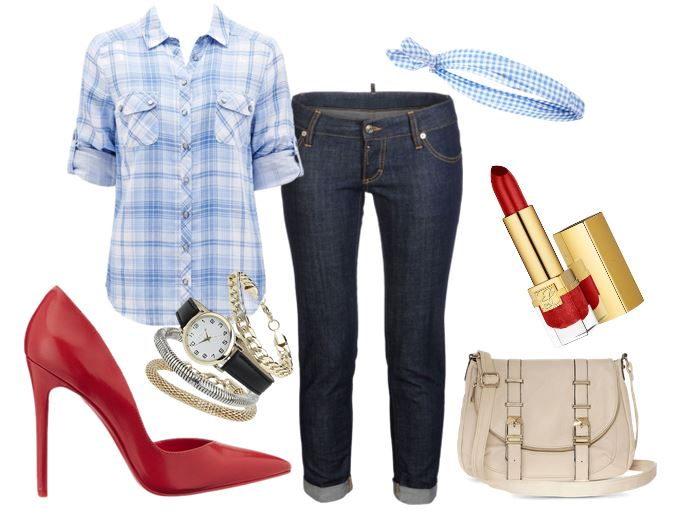 what to wear with red high heels