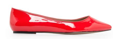 red patent ballet flats