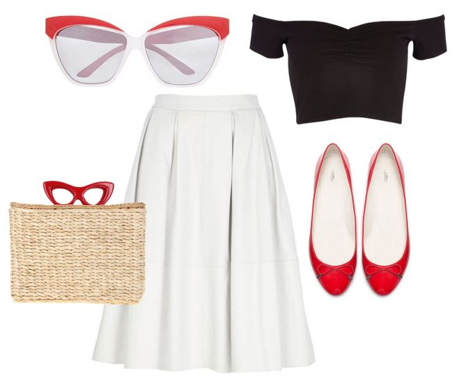 50s-inspired outfit with retro cat eye sunglasses