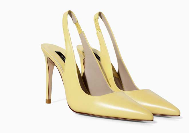 pastel yellow slingback shoes