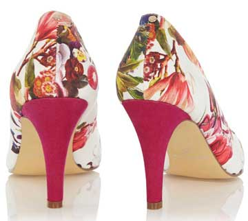 pink floral print high heel shoes