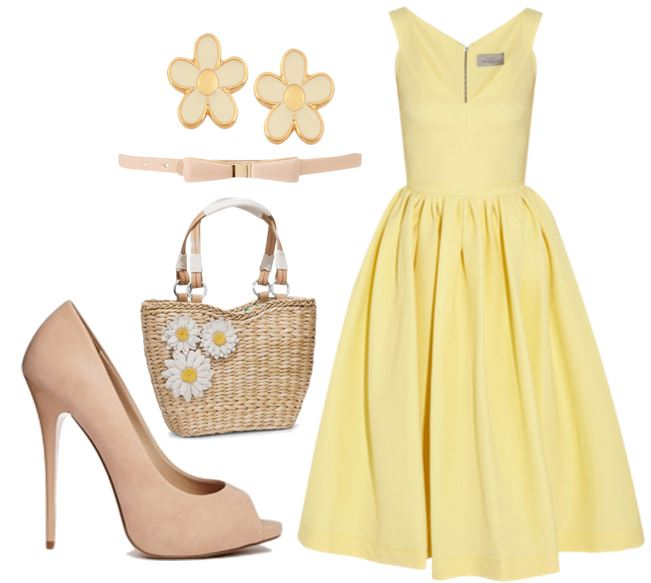 lemon dress and nude shoes