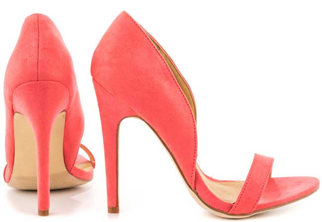 coral high heeled sandals