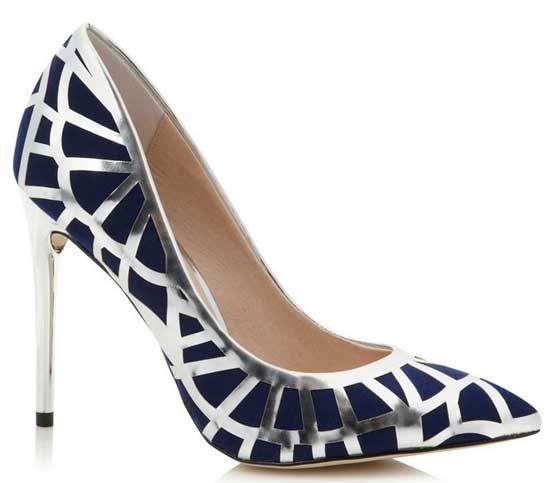 f5a9a4f8105e Faith navy and silver pointed court shoes   Shoeperwoman