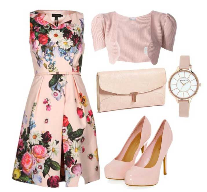 wedding outfits: pink floral dress