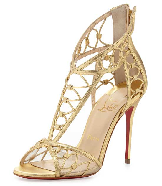 Christian Louboutin gold lattice sandals