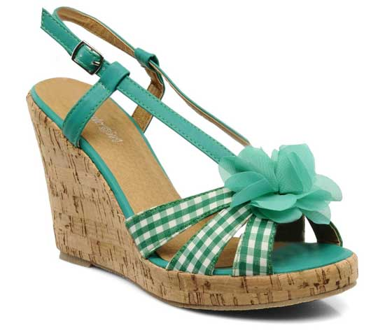 green gingham wedges