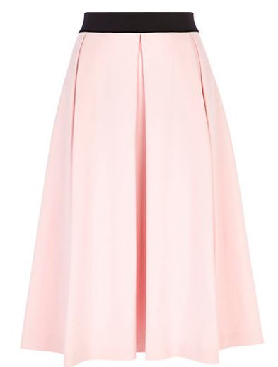 River Island pink box-pleat skirt