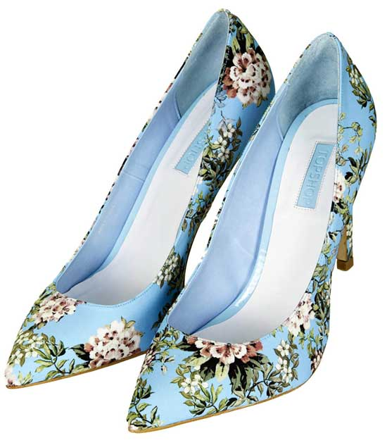 Topshop Glory floral print high heels in mint
