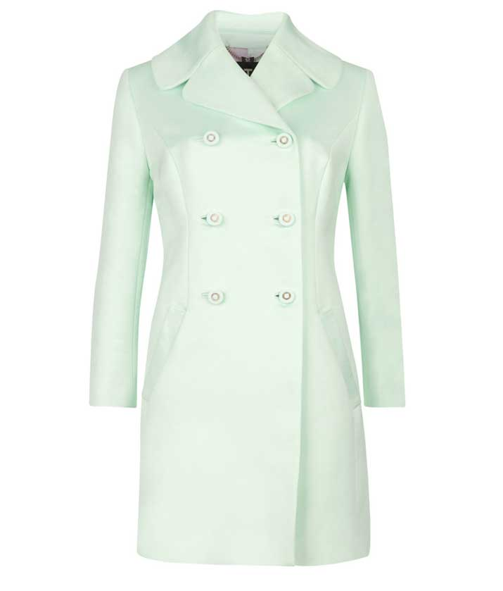 mint green coat by Ted Baker