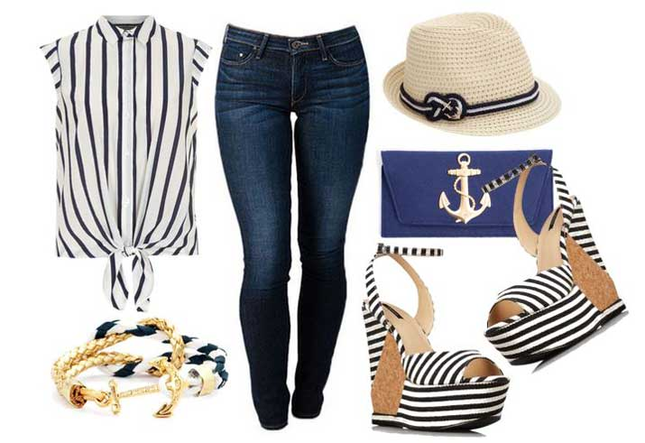 what to wear with nautical wedges