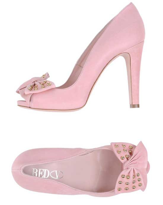 RED Valentino pink bow-front peep toes