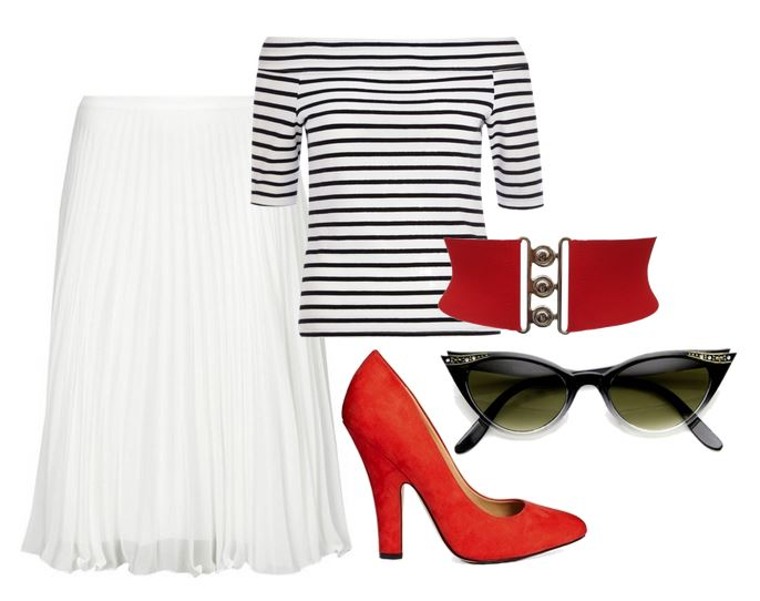 retro-inspired outfit with red shoes