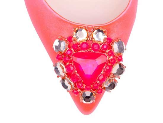 pink shoe with jewel toe
