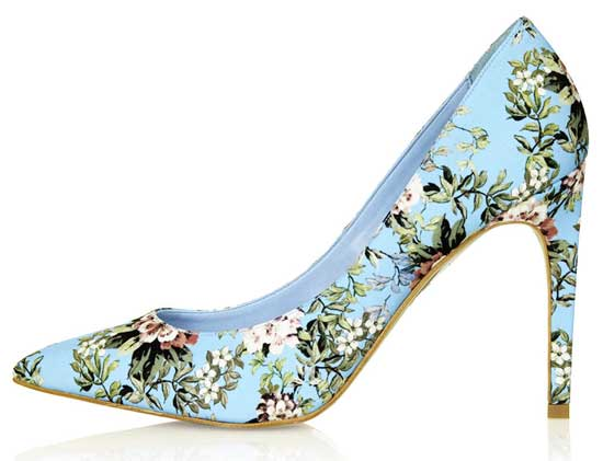 floral print high heel shoes in mint green