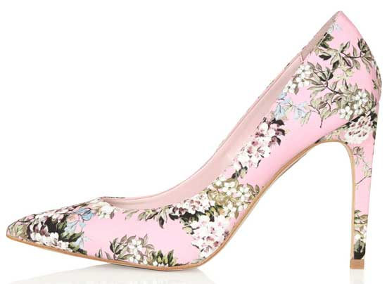 Shoe Kryptonite | Topshop 'Glory' floral print high heels in pink ...