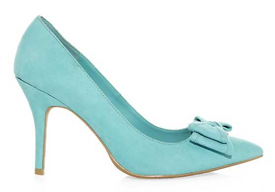 New Look turquoise bow front court shoes