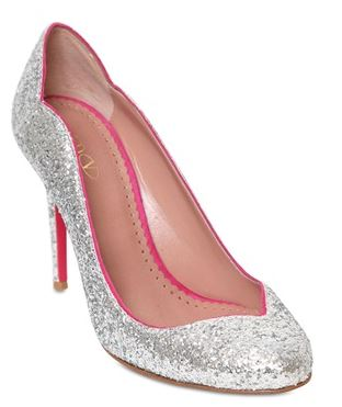 RED Valentino silver glittered leather pumps