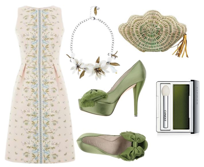 green satin shoes and floral dress