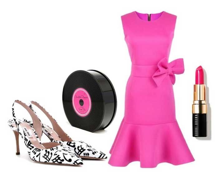 pink dress and miu miu shoes