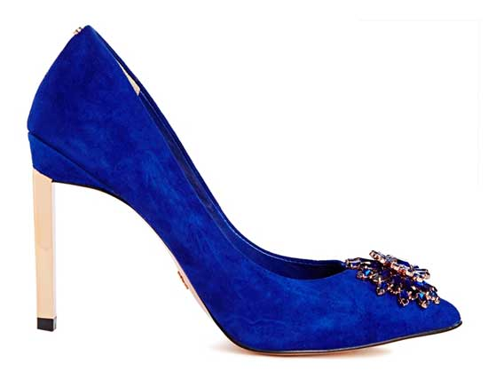 Ted Baker Annabilla Blue Suede Embellished Heeled Shoes