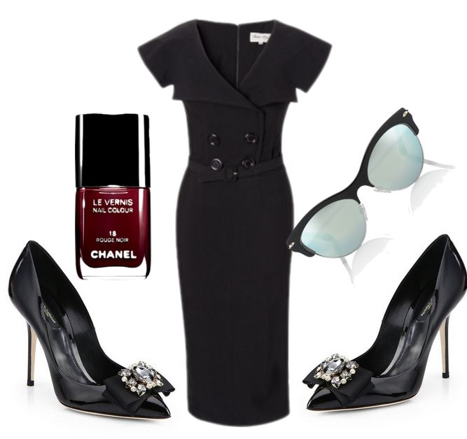 black dress shoes and bettie page dress