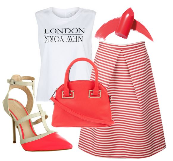 coral stripe outfit