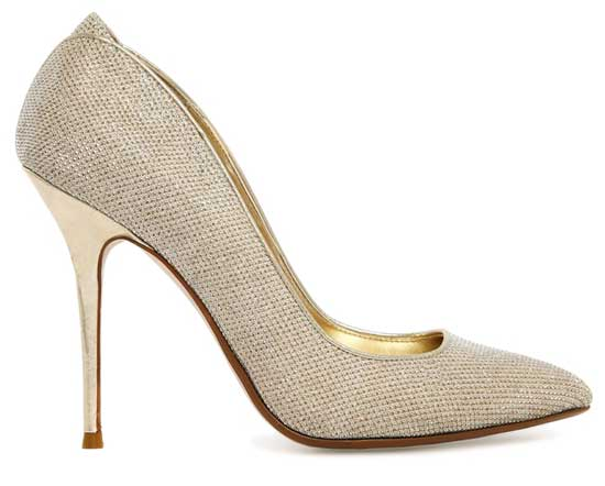 Dune Ballroom gold court shoes