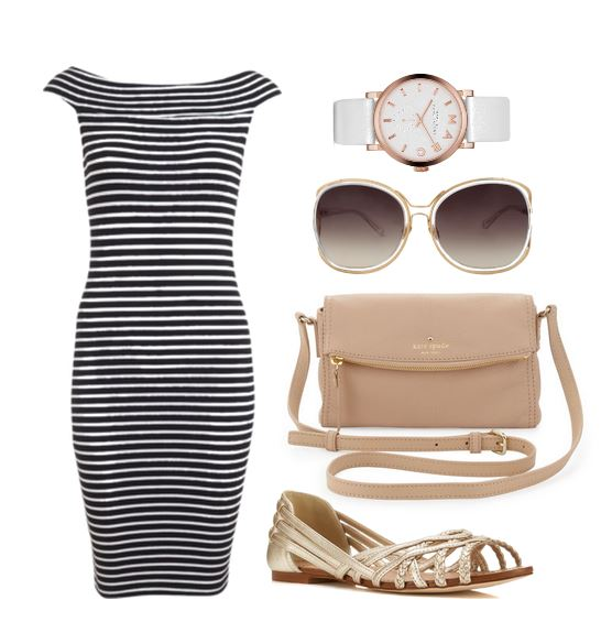 flat sandals and stripe dress