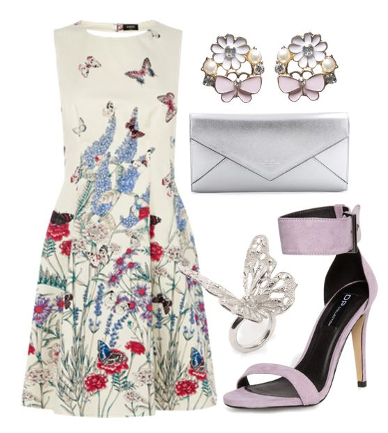 iilac sandals and floral dress