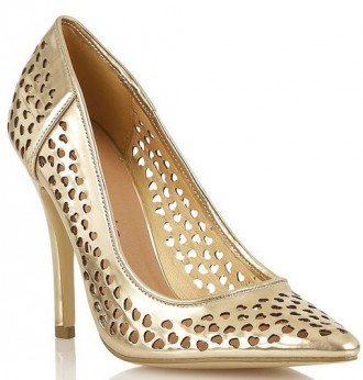 gold heart cut-out shoes