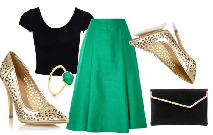 green and gold outfit