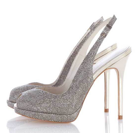 Karen Millen metallic peep toe shoes