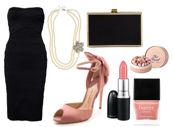 little black dress and pink shoes